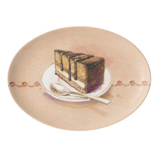 Card with painted watercolor cake porcelain serving platter