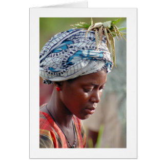 """Card, """"Young Woman Picking Rice"""" Card"""