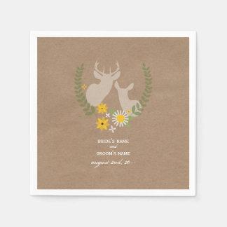 Cardboard Inspired Deer Wedding Napkins Disposable Napkin