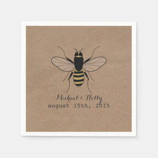 Cardboard Inspired Honey Bee Wedding Napkins Disposable Napkins
