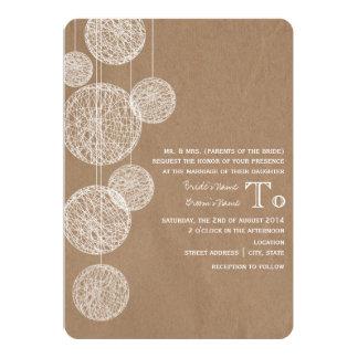 Cardboard Inspired Twine Globes Wedding Card