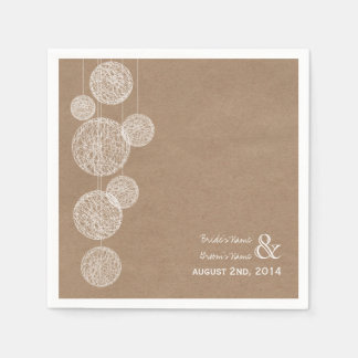 Cardboard Inspired Twine Globes Wedding Napkins