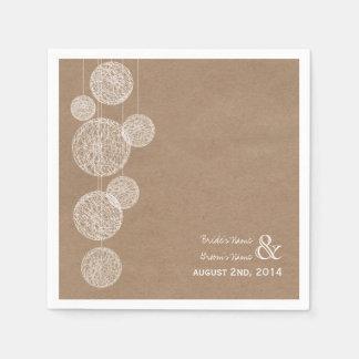 Cardboard Inspired Twine Globes Wedding Napkins Disposable Napkins