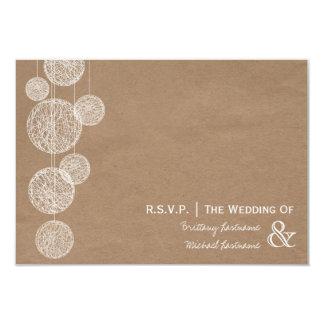 Cardboard Inspired Twine Globes Wedding R.S.V.P. Card