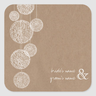 Cardboard Inspired Twine Globes Wedding Sticker