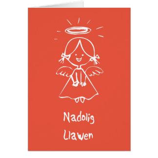 Carden Nadolig - Angel (Welsh) Card