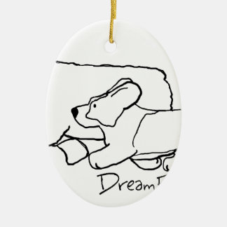 Cardi Moving a Sheep Ceramic Oval Ornament