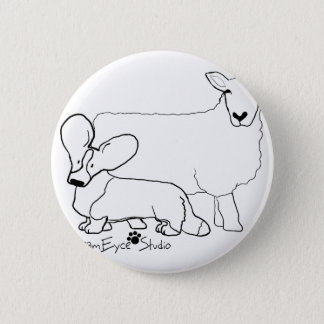 Cardi with a Sheep Standing 2 Inch Round Button