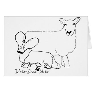 Cardi with a Sheep Standing Card