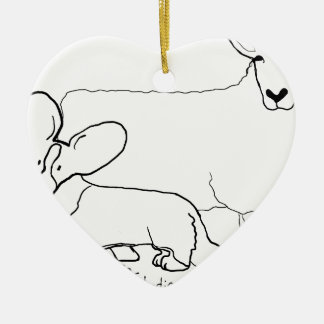 Cardi with a Sheep Standing Ceramic Heart Ornament