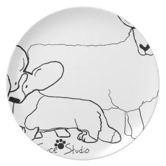 Cardi with a Sheep Standing Dinner Plates