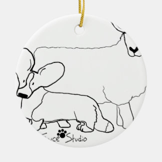 Cardi with a Sheep Standing Round Ceramic Ornament