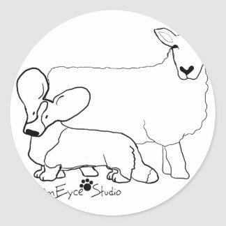 Cardi with a Sheep Standing Round Sticker