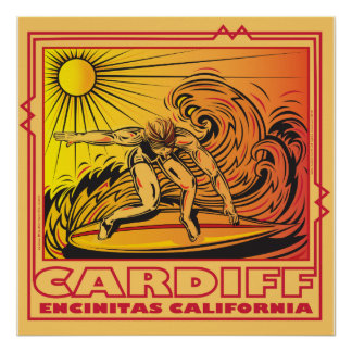 CARDIFF BY THE SEA ENCINITAS CALIFORNIA SURFING POSTER