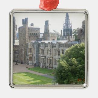 Cardiff Castle Silver-Colored Square Ornament