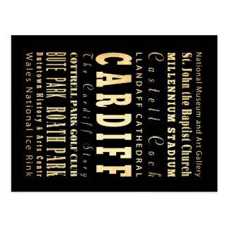Cardiff City United Kingdom Typography Art Postcard
