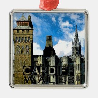Cardiff Silver-Colored Square Ornament
