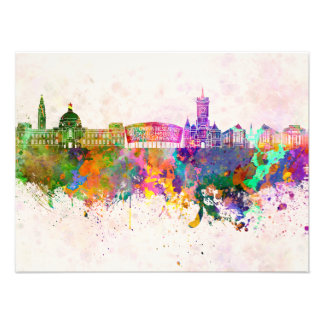 Cardiff skyline in watercolor background photo print