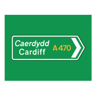 Cardiff, UK Road Sign Postcard