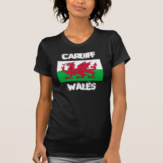 Cardiff, Wales with Welsh flag T-Shirt