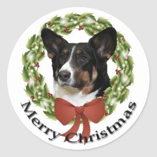 Cardigan Corgi Christmas Sticker