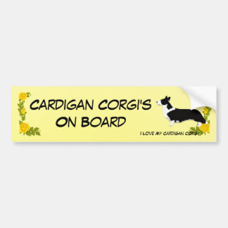 Cardigan Welsh Corgi and Yellow Roses Bumper Sticker