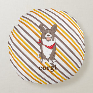 cardigan welsh corgi border round pillow
