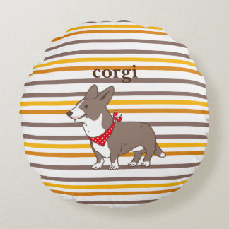 cardigan welsh corgi border round pillow