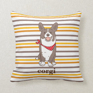 cardigan welsh corgi border throw pillow