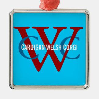 Cardigan Welsh Corgi Breed Monogram Silver-Colored Square Ornament