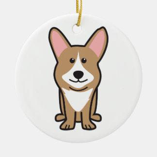 Cardigan Welsh Corgi Dog Cartoon Round Ceramic Ornament