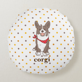 cardigan welsh corgi dot round pillow