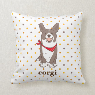 cardigan welsh corgi dot throw pillow