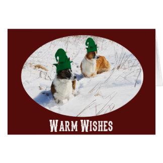 Cardigan Welsh Corgi Elves Christmas Card
