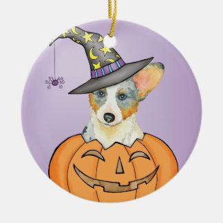 Cardigan Welsh Corgi Halloween Round Ceramic Ornament