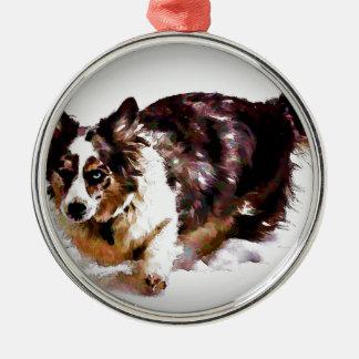 Cardigan Welsh Corgi - Maggie Silver-Colored Round Ornament