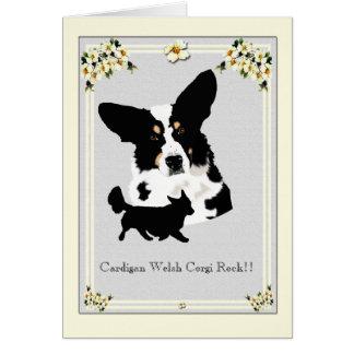 Cardigan Welsh Corgi on Grey Dogwood Floral Card