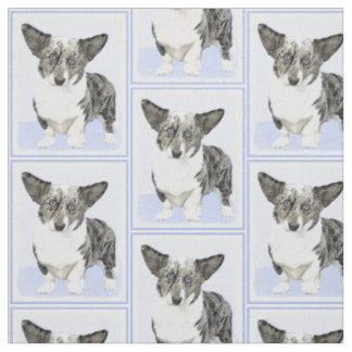Cardigan Welsh Corgi Painting - Original Dog Art Fabric