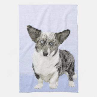 Cardigan Welsh Corgi Painting - Original Dog Art Kitchen Towel