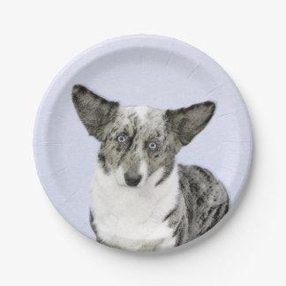 Cardigan Welsh Corgi Painting - Original Dog Art Paper Plate