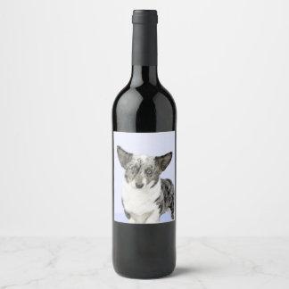Cardigan Welsh Corgi Painting - Original Dog Art Wine Label