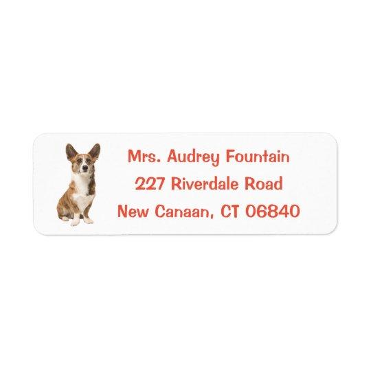 Cardigan Welsh Corgi Puppy Dog Return Address Label