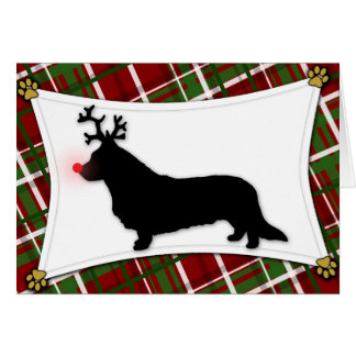 Cardigan Welsh Corgi Reindeer Christmas Card