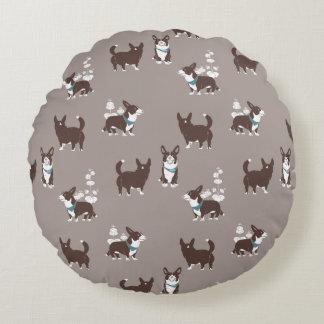 cardigan welsh corgi round pillow