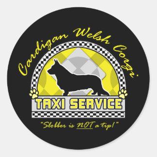 Cardigan Welsh Corgi Taxi Service Round Sticker