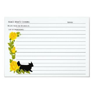 Cardigan Welsh Corgi, Yellow Roses Recipe Card