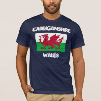 Cardiganshire, Wales with Welsh flag T-Shirt