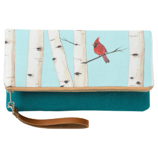 Cardinal and Birch Trees Clutch