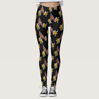 Cardinal And Flowers on Black - Leggings
