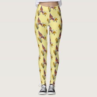Cardinal And Flowers on Pale Yellow - Leggings